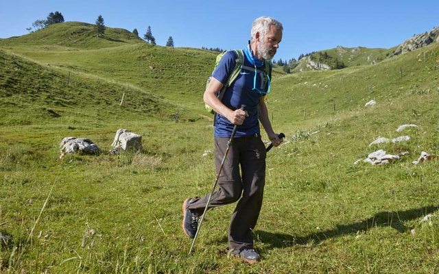 Yves Auberson, who has Parkinson disease and recently walked 1122 kilometres through the Alps, poses in a pasture at La Dole in Cheserex near Geneva, Switzerland, July 19, 2021. REUTERS