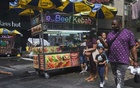 A kebab cart in Manhattan, July 8, 2021. For thousands of food truck operators and cart vendors in New York, the ability to make meaningful profits depends on large numbers of workers returning to the office. (John Taggart/The New York Times)