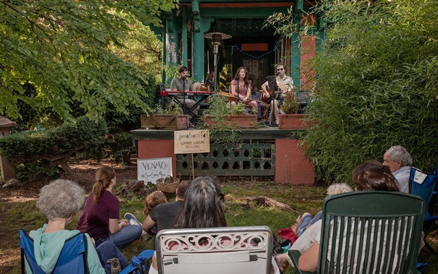 A concert at Gloria Fischer's home on Buckingham Road in Brooklyn this month. The New York Times