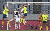 Sweden, in yellow, scores a goal against the United States during their Group G soccer match at the postponed 2020 Tokyo Olympics in Tokyo on Wednesday, July 21, 2021.The New York Times
