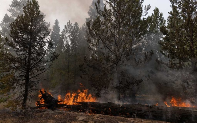 A section of the Bootleg Fire burns near Paisley, Ore, July 23, 2021. (Kristina Barker/The New York Times)