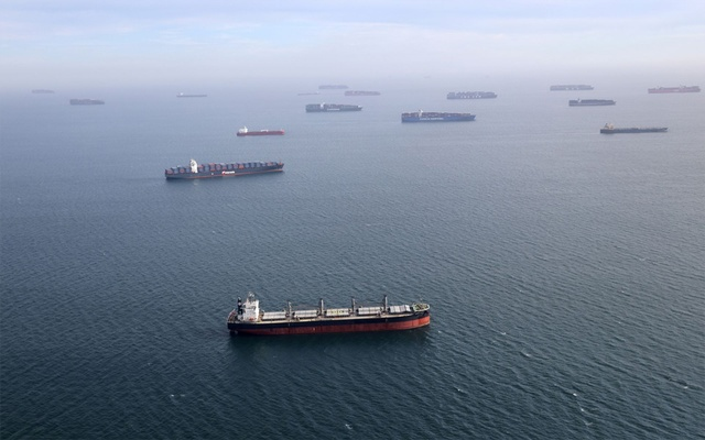 Container ships and oil tankers wait in the ocean outside the Port of Long Beach-Port of Los Angeles complex, amid the coronavirus disease (COVID-19) pandemic, in Los Angeles, California, U.S., April 7, 2021. Reuters