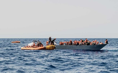 Migrants are rescued during a search and rescue (SAR) operation in the Mediterranean Sea, July 4, 2021. Picture taken July 4, 2021. Flavio Gasperini/SOS Mediterranee/Handout via REUTERS