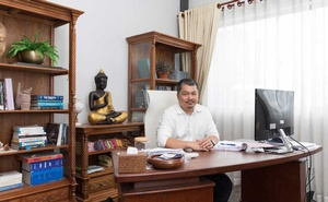 """Ou Virak, a political analyst and founder of the Future Forum, a Phnom Penh think tank, in his office in Phnom Penh, Cambodia, on July 12, 2021. """"Deploying security forces to handle what the Cambodian government considers a crisis — health or otherwise — is the only way we know how,"""" he said. (Alex Spencer/The New York Times)"""