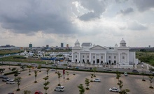 A large wedding venue in Sen Sok, Cambodia, that has been turned into a quarantine centre, on July 12, 2021. As an outbreak seizes Cambodia, patients who test positive for the virus say they are being forced into quarantine centres that are more like makeshift prisons than hospitals. (Alex Spencer/The New York Times)