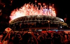 Tokyo 2020 Olympics - The Tokyo 2020 Olympics Opening Ceremony - Olympic Stadium, Tokyo, Japan - July 23, 2021. Fireworks are seen from outside the stadium during the Opening Ceremony. REUTERS