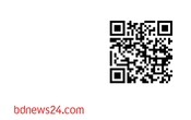 """Photo: bdnews24.com logo with a Quick Response code or QR code saying """"The world is a quiet place without news"""""""