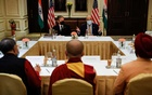 US Secretary of State Antony Blinken and US Ambassador to India Atul Keshap deliver remarks to civil society organization representatives in a meeting room at the Leela Palace Hotel in New Delhi, India, July 28, 2021. REUTERS.
