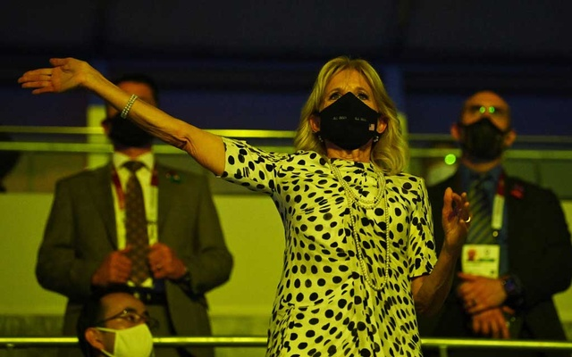 US First Lady Jill Biden wearing the polka-dot Brandon Maxwell at the opening ceremony. Reuters