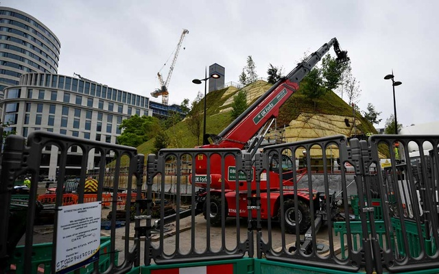 A general view of Marble Arch Mound having grass turf deployed in London, Britain Jul 24, 2021. REUTERS