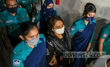 Police personnel escort businesswoman Helena Jahangir, who was recently sacked from an Awami League subcommittee, to Dhaka Chief Metropolitan Magistrates Court on Friday, Jul 30, 2021 after her arrest by the RAB on a number of charges.