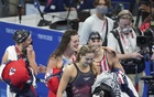 From left, Paige Madden, Allison Schmitt, Katie McLaughlin and Katie Ledecky celebrate after their silver-medal showing in the women's 4 x 200-meter freestyle final during the Tokyo 2020 Olympics, at the Tokyo Aquatics Centre, Thursday, July 29, 2021. China was the upset winner, with the favoured Australians in bronze. The New York Times