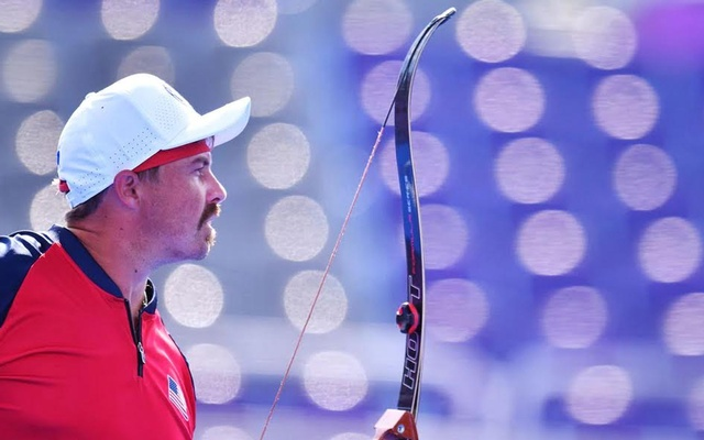 Brady Ellison of the United States during competition.Tokyo 2020 Olympics - Archery - Men's Individual - Quarterfinals - Yumenoshima Archery Field, Tokyo, Japan - July 31, 2021. REUTERS