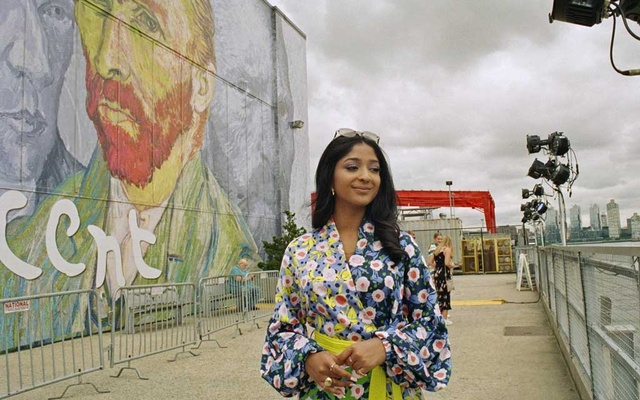 """Maitreyi Ramakrishnan, the star of the Netflix teen comedy, """"Never Have I Ever,"""" while visiting the Immersive Van Gogh exhibit in Lower Manhattan on July 19, 2021. (Sabrina Santiago/The New York Times)"""