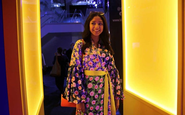 """Maitreyi Ramakrishnan, the star of the Netflix teen comedy, """"Never Have I Ever,"""" while visiting the Immersive Van Gogh exhibit in Lower Manhattan on July 19, 2021. (Sabrina Santiago/The New York Times) Caption-2:"""