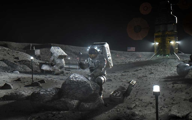 A provided image shows an artist's impression of NASA's Artemis mission on the moon. The Government Accountability Office on Friday rejected protests challenging NASA's decision to go with just one spacecraft lander design for its return of astronauts to the moon, a $2.9 billion award that went to Elon Musk's rocket company, SpaceX. (NASA via The New York Times)