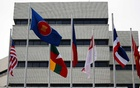 Flags are seen outside the Association of Southeast Asian Nations (ASEAN) secretariat building, ahead of the ASEAN leaders' meeting in Jakarta, Indonesia, on April 23, 2021. REUTERS