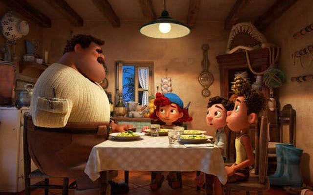 """In Luca,"""" the fisherman character Massimo Marcovaldo, left, was born without a limb. The filmmakers said the decision was very intentional. Photo: Disney/Pixar via The New York Times"""