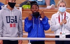Simone Biles (in the middle) of the United States reacts. Tokyo 2020 Olympics - Gymnastics - Artistic - Women's Floor Exercise - Final - Ariake Gymnastics Centre, Tokyo, Japan - August 2, 2021. REUTERS