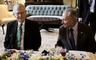 Senate Majority Leader Chuck Schumer, right, and Senate Minority Leader Mitch McConnell join a luncheon for a visiting dignitary on Capitol Hill in Washington, July 28, 2021. The New York Times