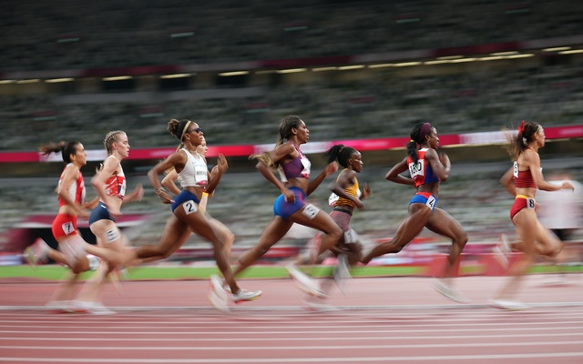 The semifinal women's 800-meter run during the postponed 2020 Summer Olympics in Tokyo, on Saturday, July 31, 2021. (Doug Mills/The New York Times)