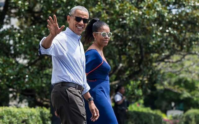 Former President Barack Obama and Michelle Obama departing for Martha's Vineyard, Mass, in 2016.Credit...Al Drago/The New York Times