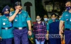 The police brought actress Pori Moni, who was detained with drugs and bottles of liquor at her home, to Dhaka's Chief Metropolitan Magistrates Court on Thursday, Aug 5, 2021. Photo: Mahmud Zaman Ovi