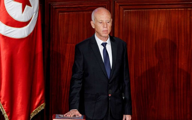 Tunisian President Kais Saied takes the oath of office in Tunis, Tunisia, October 23, 2019. Reuters