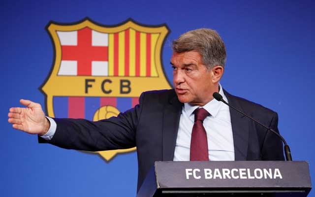 FC Barcelona Press Conference - 1899 Auditorium, Barcelona, Spain - August 6, 2021 FC Barcelona president Joan Laporta during the press conference REUTERS
