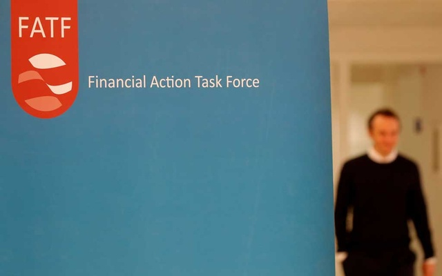 The logo of the FATF (the Financial Action Task Force) is seen during a news conference after a plenary session at the OECD Headquarters in Paris, France, October 18, 2019. REUTERS