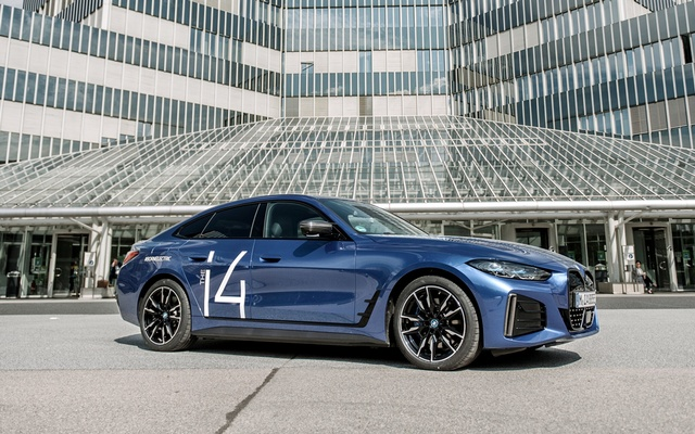 BMW will begin selling a battery-powered i4 in Europe in the fall and in the United States by early next year.Credit...Laetitia Vancon for The New York Times