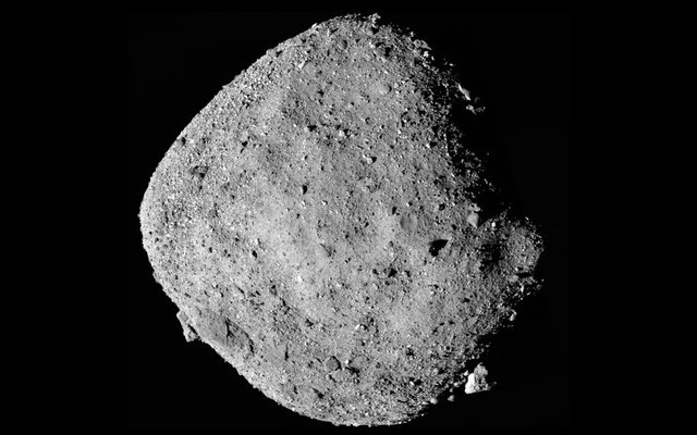 In an undated image provided by NASA/Goddard/University of Arizona, the asteroid Bennu, captured by the OSIRIS-REX spacecraft in 2018. At a news conference on Wednesday, Aug 11, 2021, NASA scientists said there was a 1-in-1,750 chance that the asteroid named Bennu, which is a bit wider than the Empire State Building is tall, could collide with Earth between now and 2300. (NASA/Goddard/University of Arizona via The New York Times)
