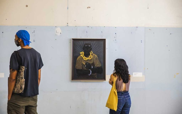 """Kerry James Marshall's """"Ecce Homo"""" (2008-2014) on display in """"Feedback"""" at the The School, Jack Shainman Gallery's upstate outpost in Kinderhook, N.Y., July 31, 2021. In """"Feedback,"""" a 21-artist knockout of a show, Helen Molesworth curates a nuanced and complicated conversation about race — the kind of talk we desperately need. (Lauren Lancaster/The New York Times)"""