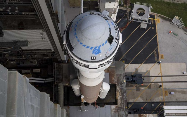 In a photo from NASA, the Starliner spacecraft atop an Atlas 5 rocket at a launchpad in Cape Canaveral, Fla, Aug 2, 2021. Problems with the capsule's propulsion system require more troubleshooting, a setback for a program to carry NASA astronauts to the space station. The New York Times