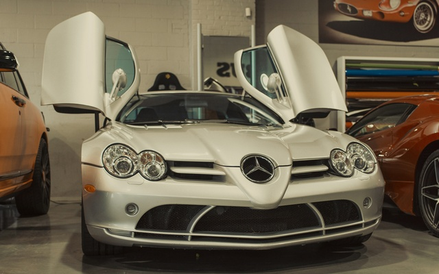 A 2006 Mercedes-Benz McLaren SLR with swan doors in New York, Aug. 9, 2021. For certain status chasers, the Abushi brothers take car customisation to the next level — with luxury price tags to match. (Braylen Dion/The New York Times)