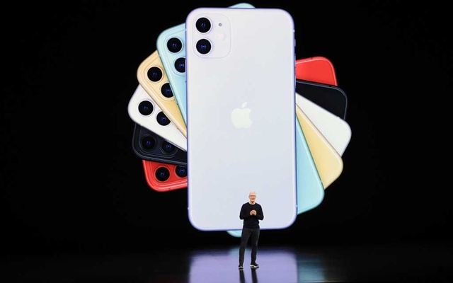 Tim Cook, Apple's chief executive, introduces the iPhone 11 in Cupertino, Calif., on Sept. 10, 2019. Apple is the first US company to reach $2 trillion in value, capping a staggering ascent that began in the coronavirus pandemic. Jim Wilson/The New York Times