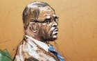 Singer R Kelly attends Brooklyn's Federal District Court during the start of his trial in New York, US, Aug 18, 2021 in a courtroom sketch. REUTERS/Jane Rosenberg