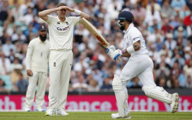 Cricket - Fourth Test - England v India - The Oval, London, Britain - September 2, 2021 England's Ollie Robinson reacts Action Images via Reuters/Andrew Couldridge