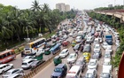 A long tailback of vehicles formed on Banani overpass in Dhaka on Thursday, Sept 2, 2021, the last business day of the week. Photo: Asif Mahmud Ove