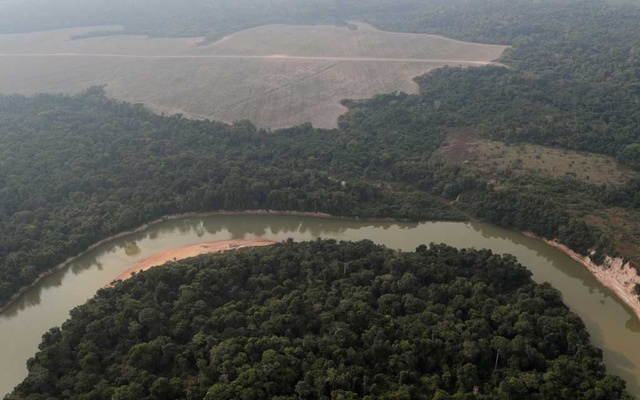aerial view shows a river and a deforested plot of the Amazon near Porto Velho, Rondonia State, Brazil August 14, 2020. REUTERS