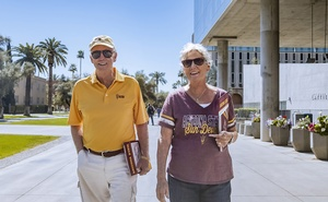 A provided image shows Wayne and Pencie Culiver, long-time residents of Tempe, Az., who now live at the Mirabella at ASU, a 239-unit tower on the Arizona State University campus. The New York Times