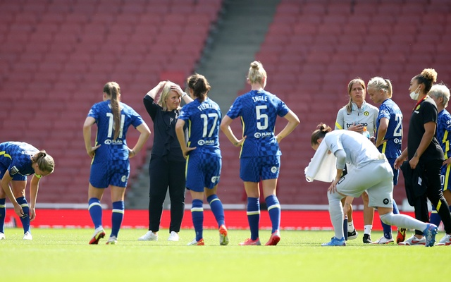 Chelsea manager Emma Hayes (in black quarter-sleeves) looks dejected after the match Action Images via Reuters. Women's Super League - Arsenal v Chelsea - Emirates Stadium, London, Britain - September 5, 2021