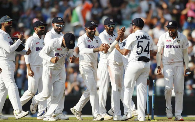 Cricket - Fourth Test - England v India - The Oval, London, Britain - September 6, 2021 India players celebrate after winning the test match Action Images via Reuters/Andrew Couldridge
