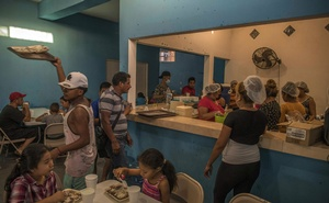 The dining room at Abraham Barberi's church in the border city of Matamoros, Mexico, Aug 25, 2021. The New York Times