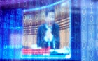 China's President Xi Jinping is shown on a screen through digitally decorated glass during the World Internet Conference (WIC) in Wuzhen, Zhejiang province, China, November 23, 2020. Reuters