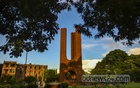 Students frequented the Shaheed Minar of Jahangirnagar University in the afternoon in normal times, but the place only has some visitors from the outside now.