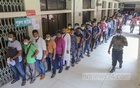 Migrants wait in a long line at the capital's Shaheed Suhrawardy Medical College Hospital to get the second dose of the coronavirus vaccine, Sept 11, 2021. Photo: Asif Mahmud Ove