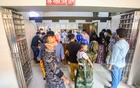 People queue up at the Shaheed Suhrawardy Medical College Hospital in Dhaka to provide blood samples for the dengue test, Sept 11, 2021. Photo: Asif Mahmud Ove