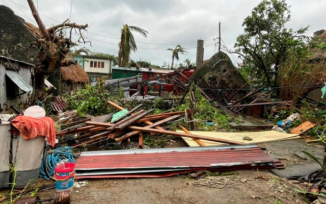 Damaged buildings and debris are seen after Typhoon Chanthu passed through Sabtang, Batanes, Philippines, in this September 12, 2021 image obtained via social media. DENNIS BALLESTEROS VALDEZ via REUTERS