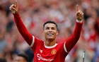 Football - Premier League - Manchester United v Newcastle United - Old Trafford, Manchester, Britain - September 11, 2021 Manchester United's Cristiano Ronaldo celebrates scoring their second goal. REUTERS